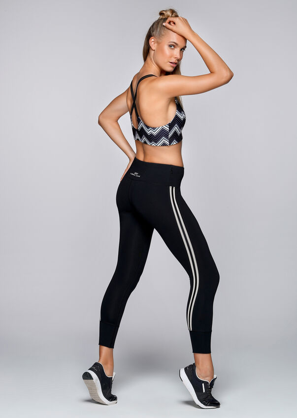 Zigzag Sports Bra, Black/White, hi-res