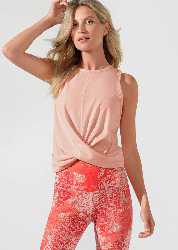 Flawless Cropped Active Tank, Dusty Peach, hi-res