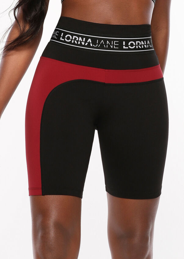 Iconic Long Bike Short, Black/Cherry, hi-res