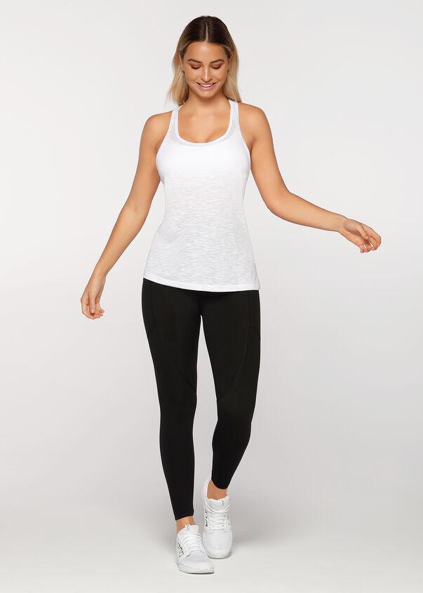 Slouchy Gym Tank, White, hi-res
