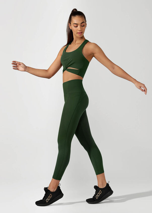 High Rise Pocket Core Ankle Biter Tight, Fig Green, hi-res