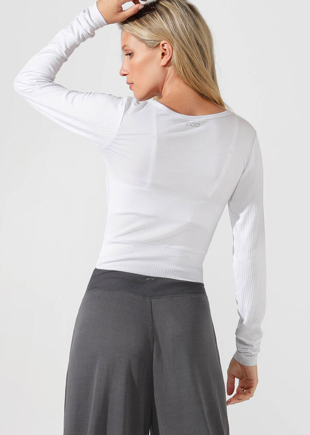 Flawless Cropped L/Slv Top, White, hi-res