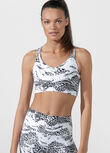Snow Leopard Sports Bra, Snow Leopard Print, hi-res