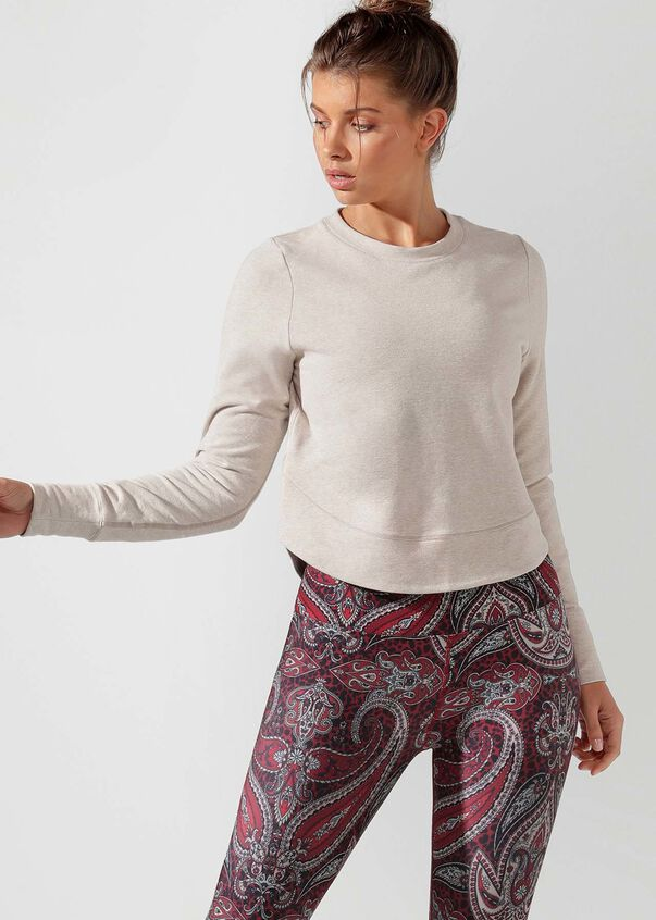 Throwover Active Long Sleeve Top, Off White Marl, hi-res