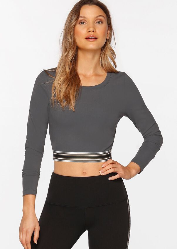 Here And There Active Long Sleeve Top, Titanium, hi-res