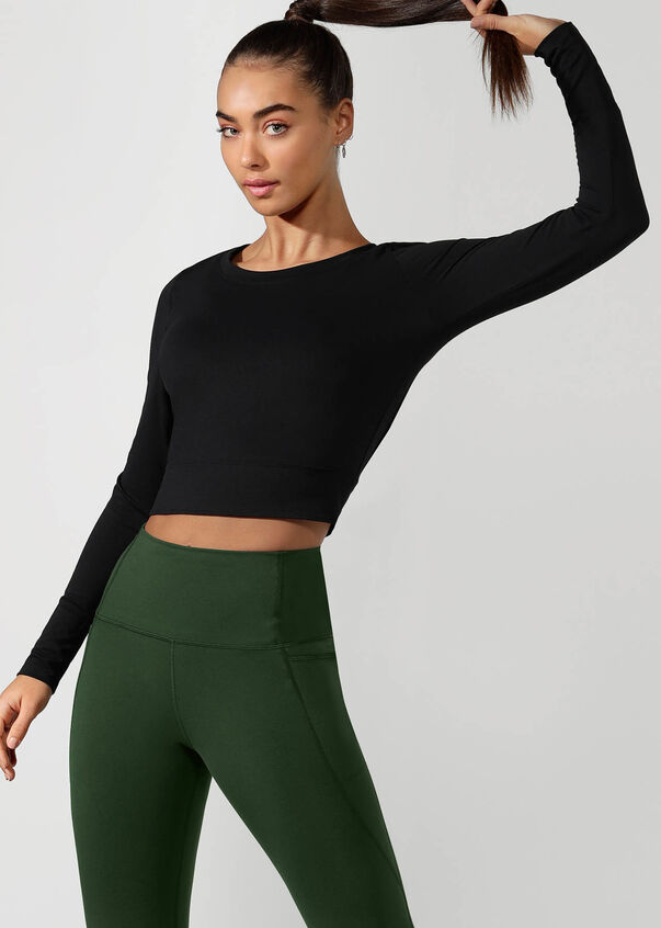 Workout Bare Minimum Cropped Top, Black, hi-res