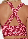 Scrunched Front Zebra Sports Bra, Bright Zebra Print, hi-res