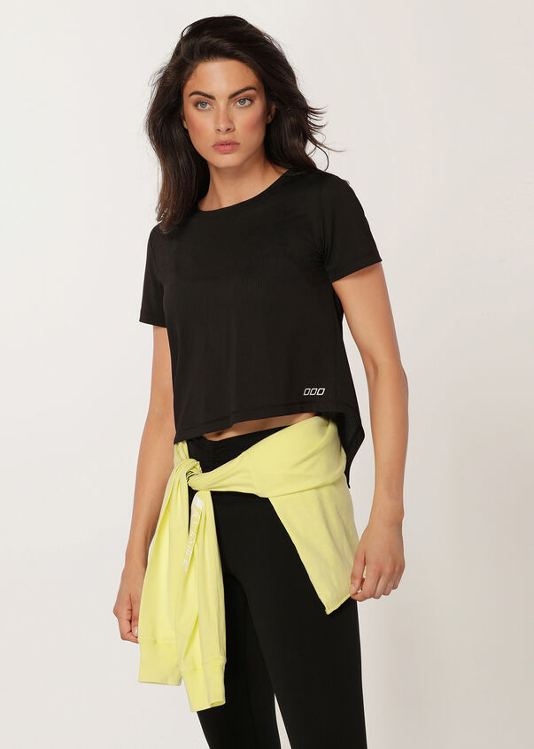 Emphasise Cropped Excel Tee, Black, hi-res