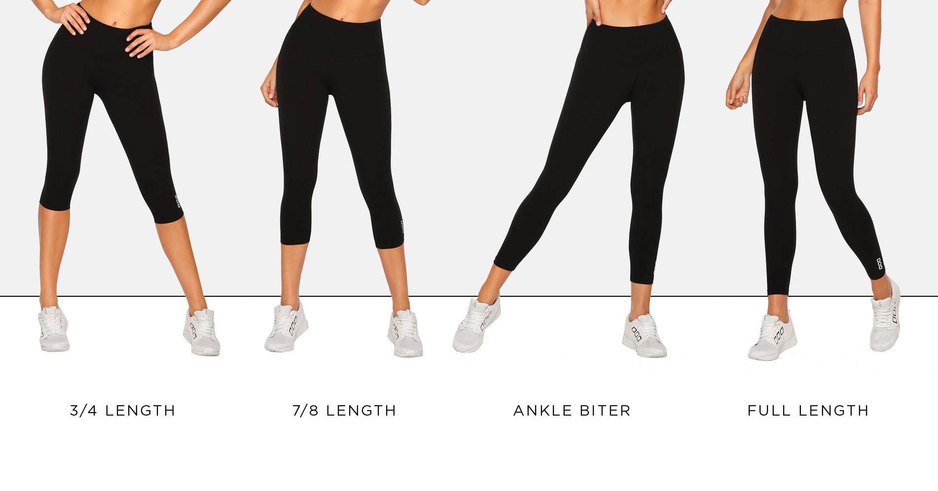 Decorative image of 3/4 length, 7/8 length, ankle biter and full length leggings